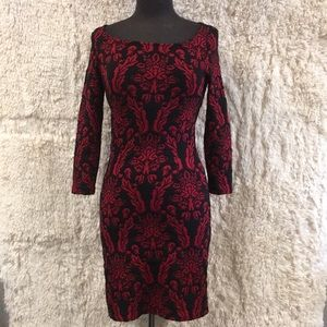 BB Dakota Red Black Damask Body Con Dress